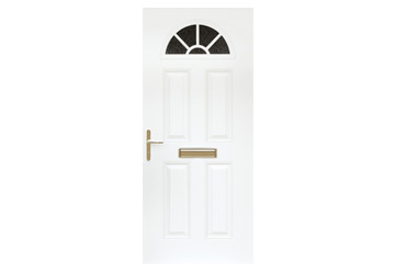 door with four panels and a sunburst window