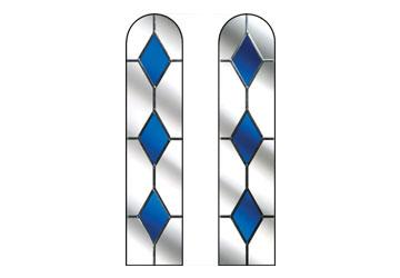 door window with blue drop diamonds