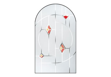 murano red stained glass window
