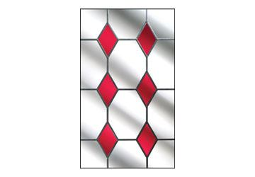 red drop diamond stained glass for composite doors