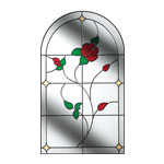 stained glass window with rose