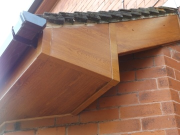 close up of wooden fascia and soffit