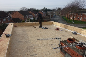 boarding the flat roof